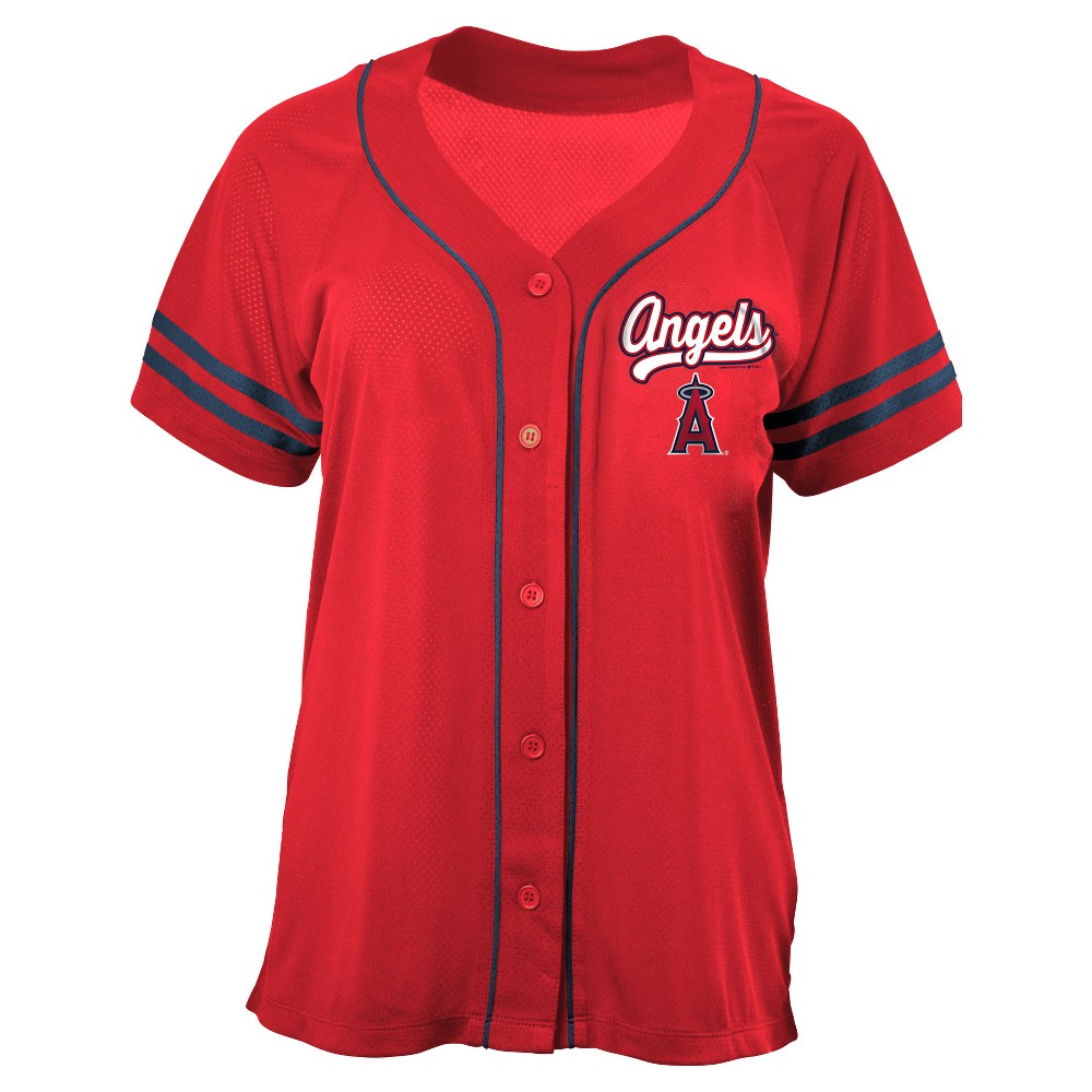 Los Angeles Angels of Anaheim Women's Contrast Piping Mesh Team Jersey M