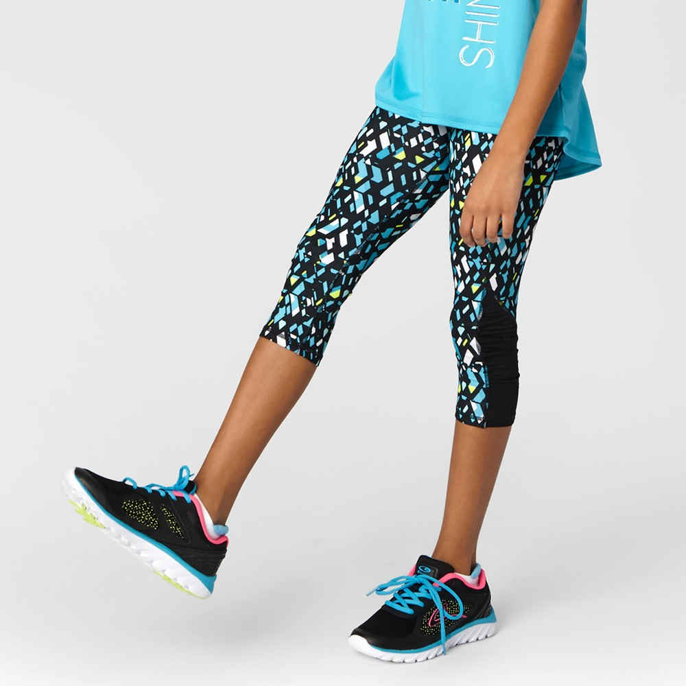Girls Ruched Performance Capri Leggings - C9 Champion Turquoise Print M
