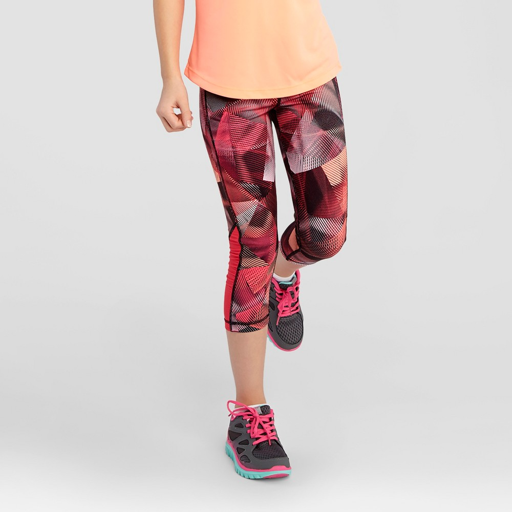 Girls Ruched Performance Capri Leggings - C9 Champion Red Print L, Pink