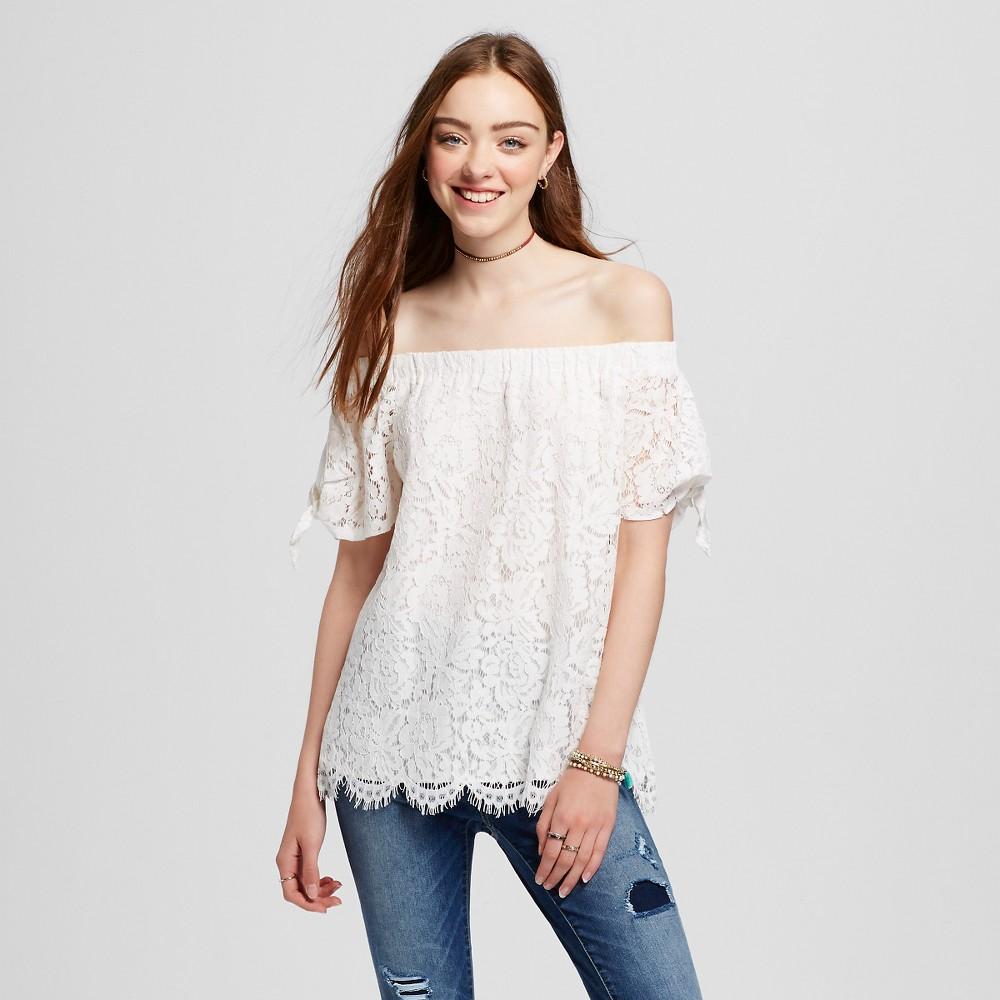 Womens Lace Off the Shoulder Top - Miss Chievous (Juniors) White L