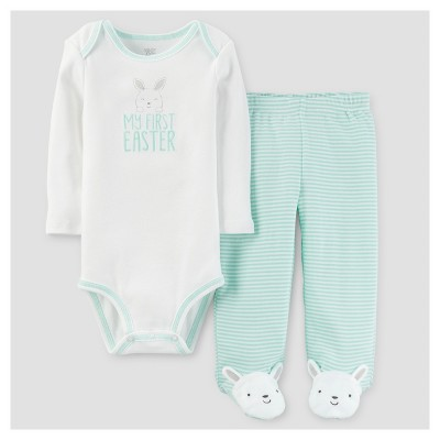 Baby 2pc My First Easter Footed Pant Set - Just One You™ Made by Carter's® Mint Stripe NB