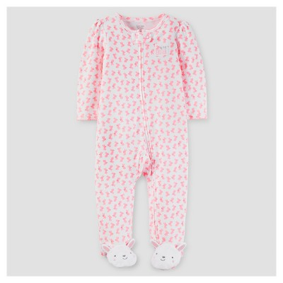 Baby Girls' Bunny Print Sleep N' Play - Just One You™ Made by Carter's® Pink NB