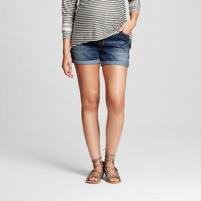 Maternity Over The Belly Jean Shorts Dark Denim Wash XXL - Liz Lange for Target