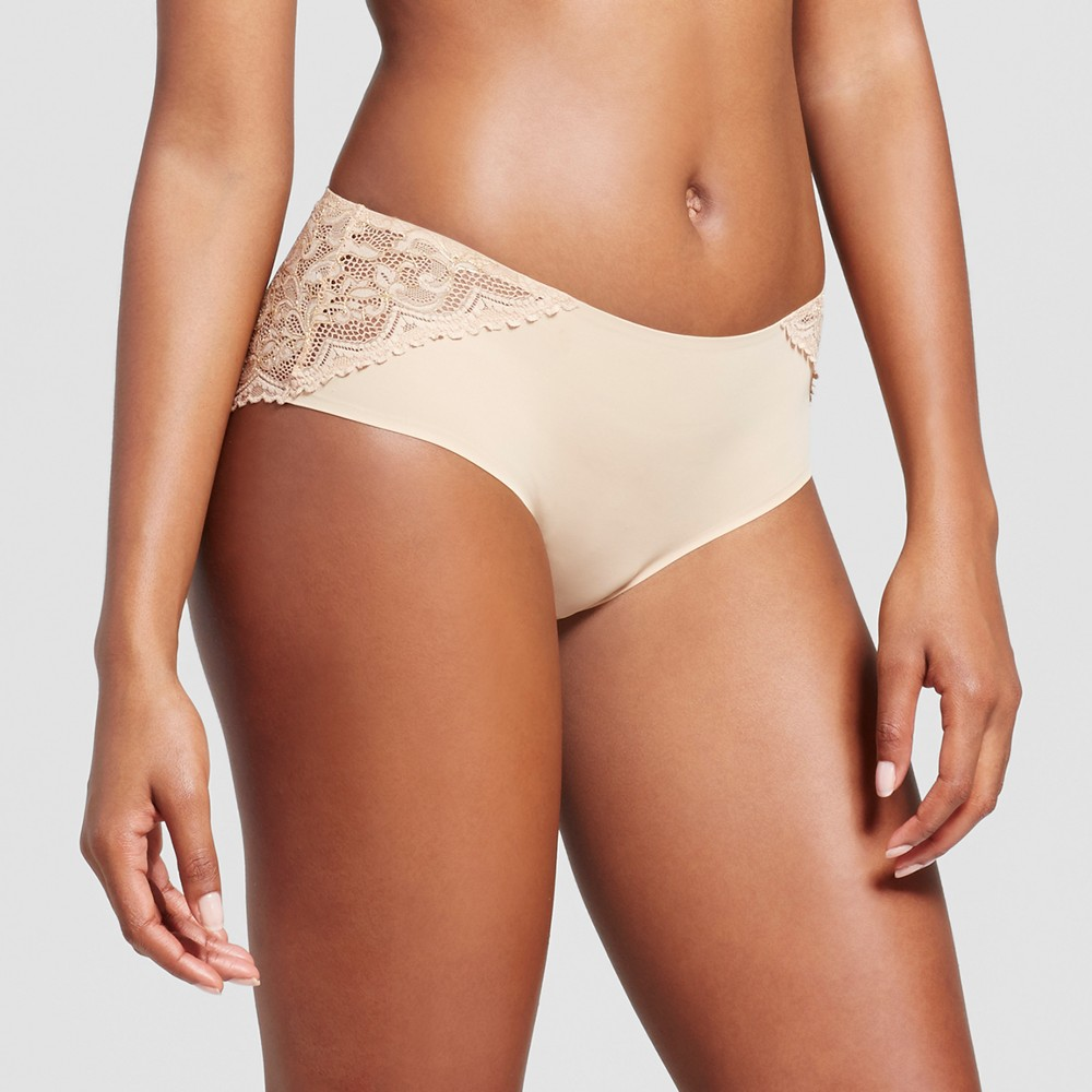 Womens Bonded Lace Hanging Hipster - Honey Beige L