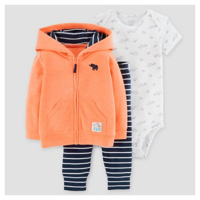 Baby Boys' 3pc Elephant Cardigan Set - Just One You™ Made by Carter's® Orange 3M