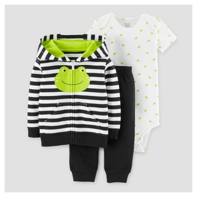 Baby Boys' 3pc Frog Cardigan Set - Just One You™ Made by Carter's® Black Stripe 9M