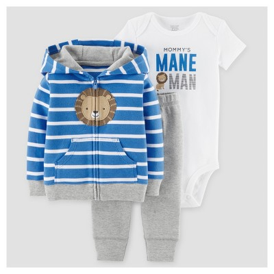 Baby Boys' 3pc Lion Mane Man Cardigan Set - Just One You™ Made by Carter's® Blue Stripe 18M