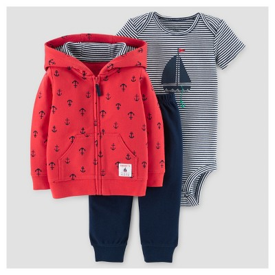 Baby Boys' 3pc Sailboat Cardigan Set - Just One You™ Made by Carter's® Red/Navy 3M