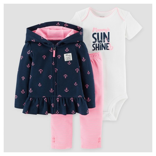 Baby Girls' 3 Piece Mommy's Sunshine Cardigan Set Navy NB - Just One You Made by Carter's, Infant Girl's, Blue