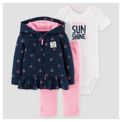 Baby Girls' 3pc Mommy's Sunshine Cardigan Set - Just One You™ Made by Carter's® Navy 6M