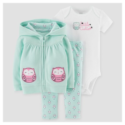 Baby Girls' 3pc Owl Cardigan Set - Just One You™ Made by Carter's® Mint/Pink 6M