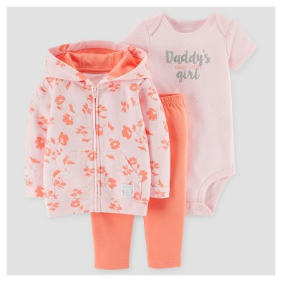 Baby Girls' 3pc Daddy's Girl Cardigan Set - Just One You™ Made by Carter's® Pink/Peach 3M