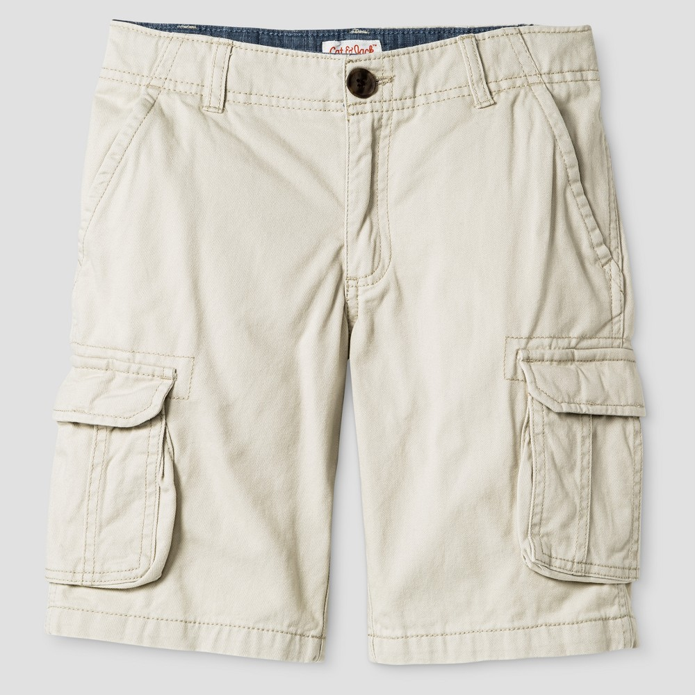 Big & Tall Boys Cargo Shorts - Cat & Jack Oyster 8 Husky