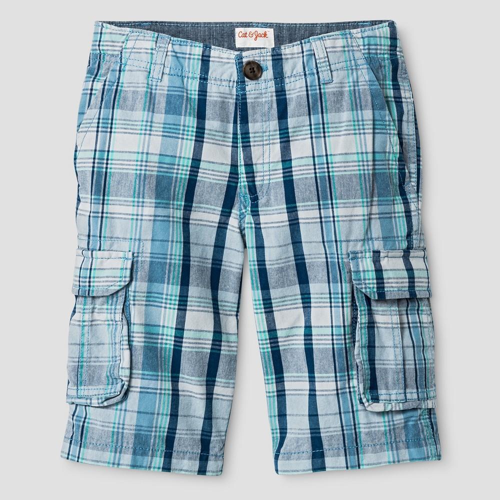 Boys Cargo Shorts - Cat & Jack Blue Plaid 12 Husky