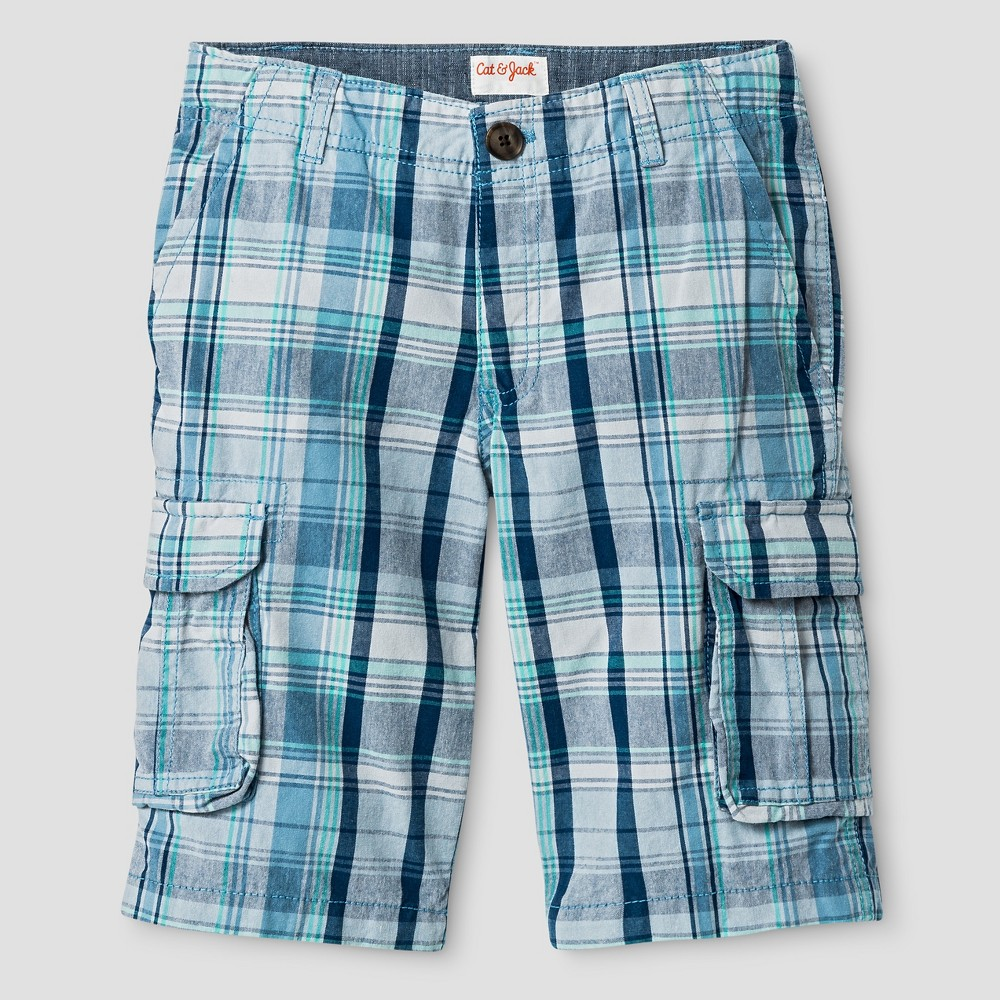 Boys Cargo Shorts - Cat & Jack Blue Plaid 8 Husky