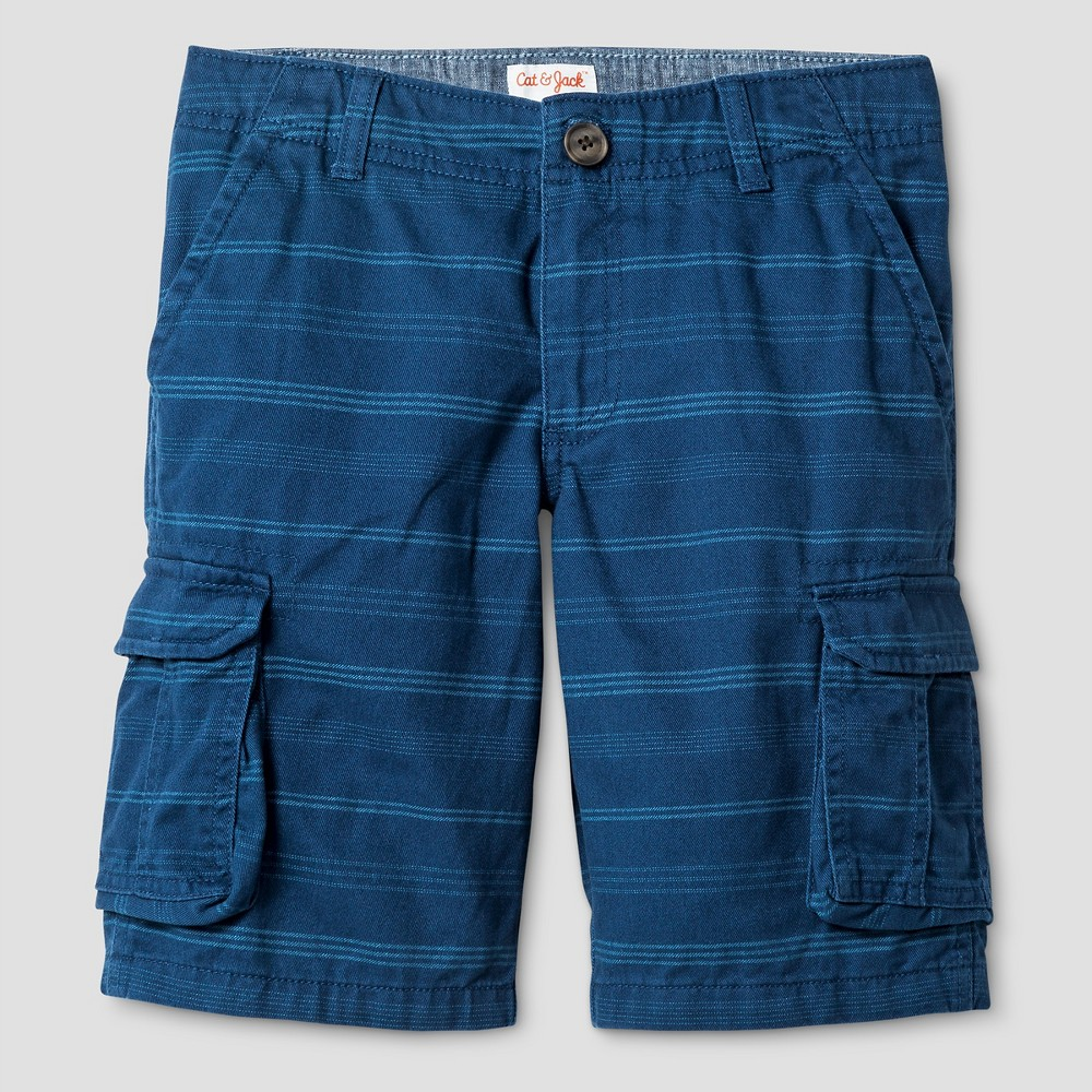 Boys Cargo Shorts - Cat & Jack Blue Stripe 10 Husky