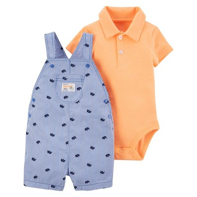 Baby Boys' 2pc Elephant Shortall Set - Just One You™ Made by Carter's Blue Stripe NB