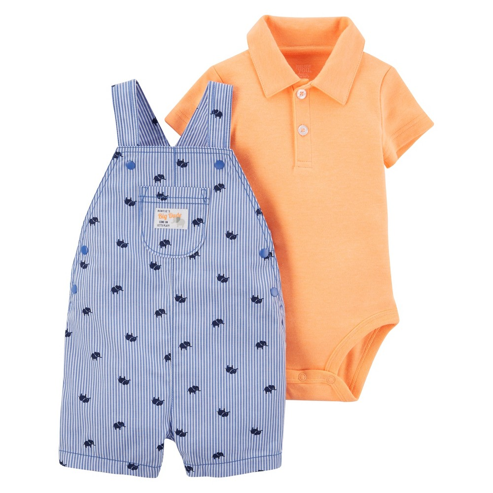 Baby Boys 2pc Elephant Shortall Set - Just One You Made by Carters Blue Stripe 3M, Size: 3 M