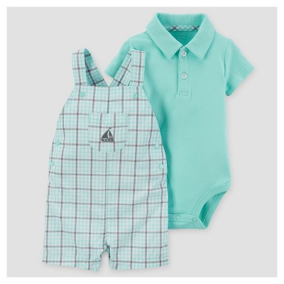 Baby Boys' 2pc Ship Shortall Set - Just One You™ Made by Carter's® Mint Plaid NB