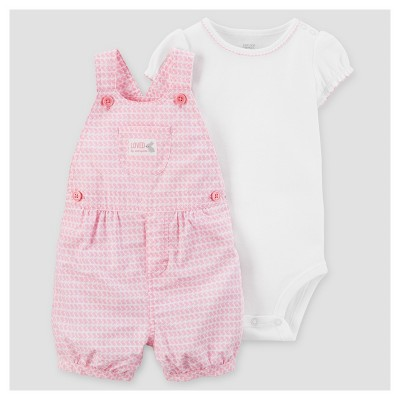 Baby Girls' 2pc Bunnies Shortall Set - Just One You™ Made by Carter's® Pink NB