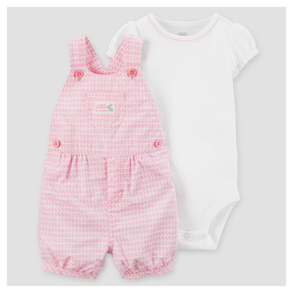 Baby Girls 2pc Bunnies Shortall Set - Just One You Made by Carters Pink 3M, Size: 3 M