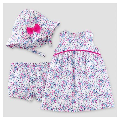 Baby Girls' 3pc Dress with Hat Set - Just One You™ Made by Carter's® Blue/Pink Floral NB
