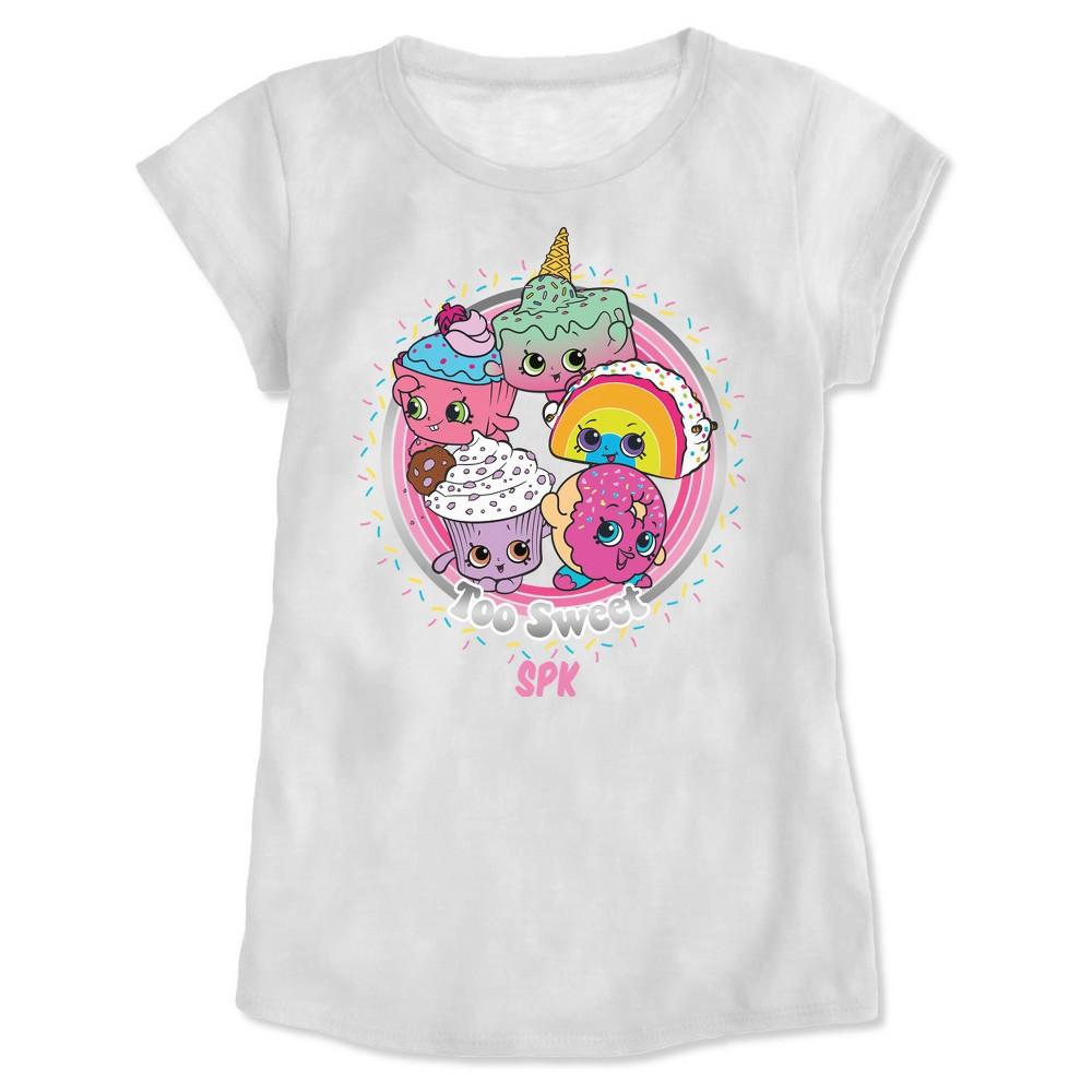 Girls Shopkins Short Sleeve T-Shirt - White L
