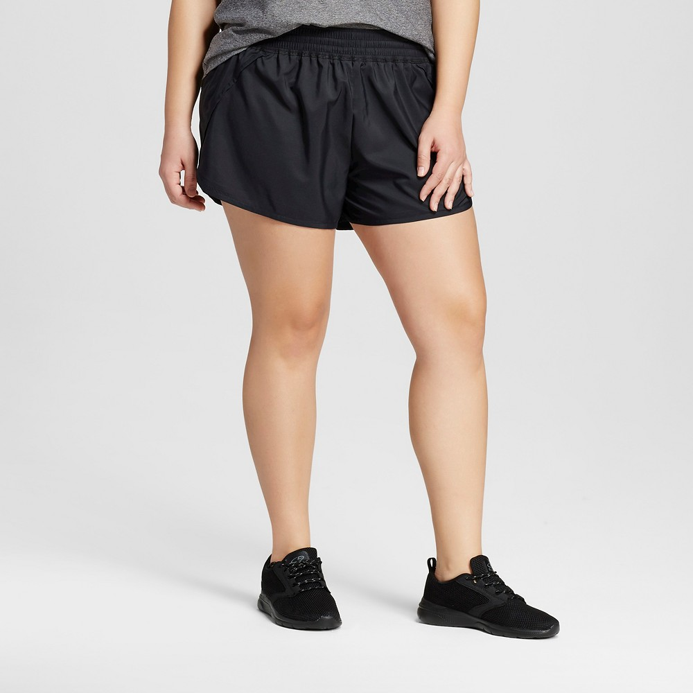 Womens Plus-Size Run Shorts - C9 Champion Black 3X