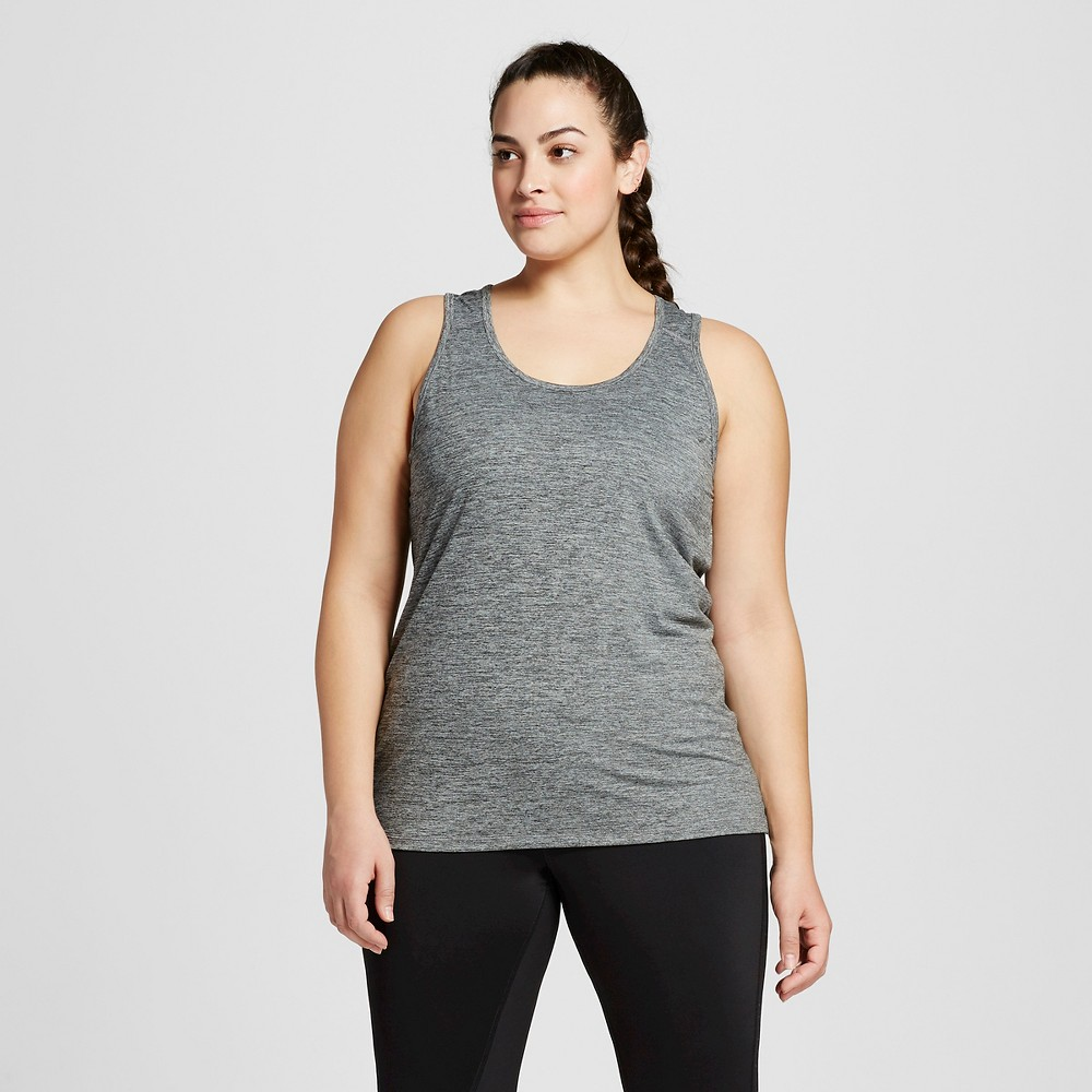 Womens Plus-Size Performance Fitted Tank Top - C9 Champion Black Heather 1X
