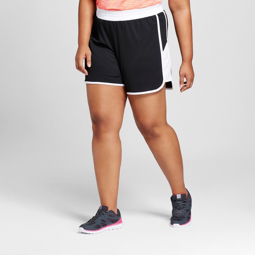 Womens Plus-Size Sport Shorts - C9 Champion Black/White 1X