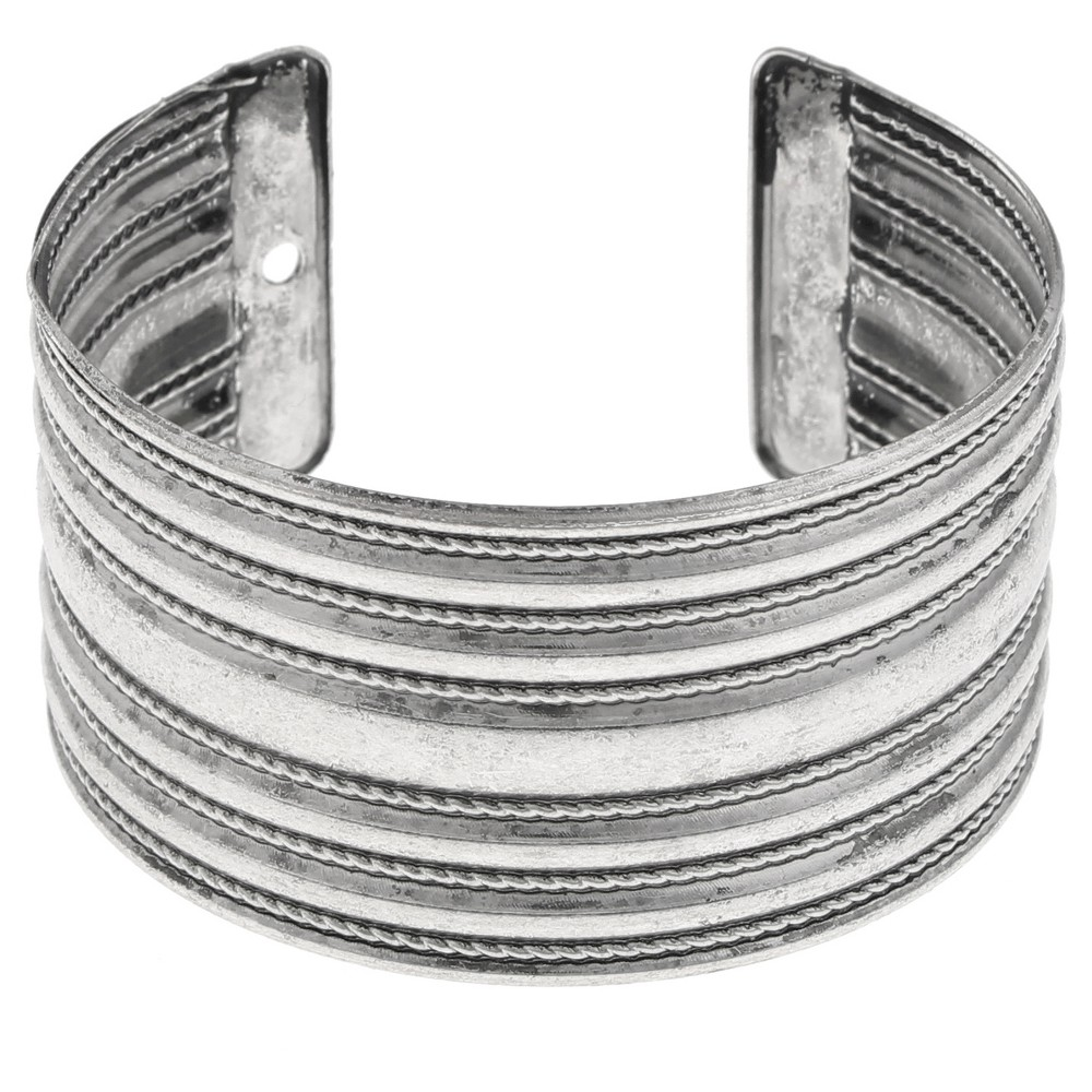 Womens Bracelet Cuff with Linear Rope Detail-Silver Ox