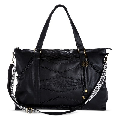 Women's' Weekender Handbag with Aztec Embroidery Black - Mossimo Supply Co.™
