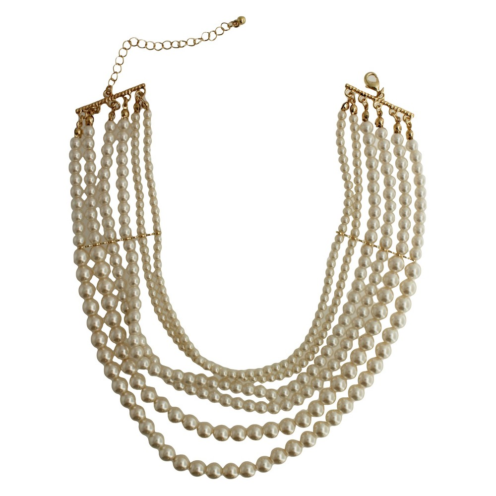 Womens Fashion Pearl Choker Necklace - Gold/Ivory (14)