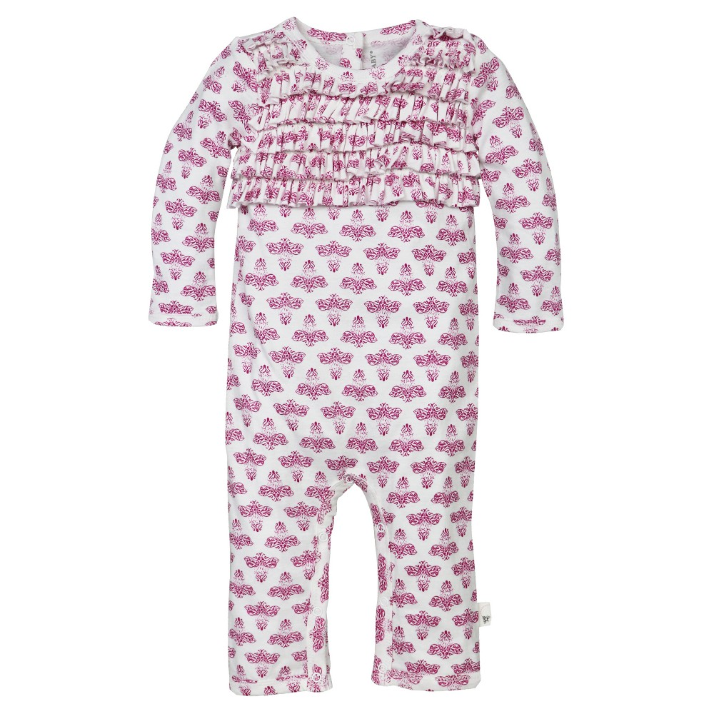 Baby Girls' Block Print Bee Ruffle Coverall Cloud 0-3 M – Burt's Bees Baby, Infant Girl's, Blue