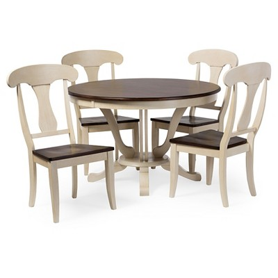 Napoleon Chic Country Cottage Antique Oak Wood And Distressed White 5 Piece  Dining Set   Baxton Studio