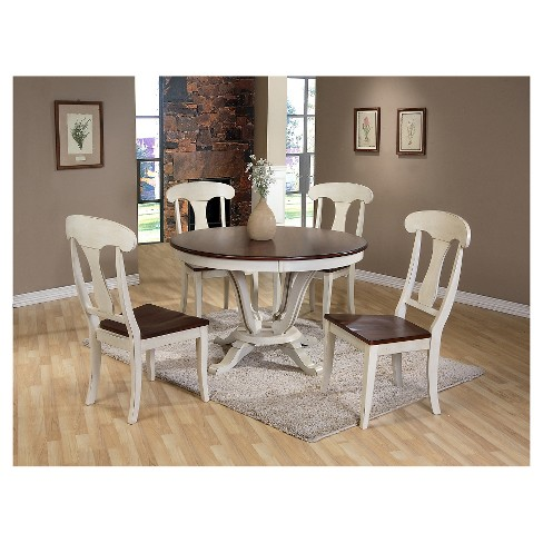 Napoleon Chic Country Cottage Antique Oak Wood And Distressed White 5 Piece Dining Set Baxton Studio Target