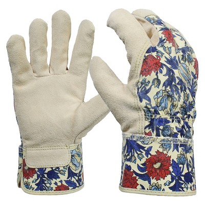 Women's Split Leather Garden Glove with Safety Cuff, Blue Floral - Threshold™