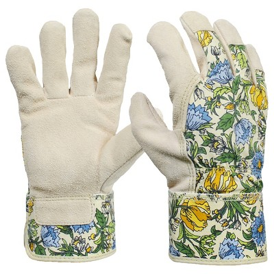 Women's Split Leather Garden Glove with Safety Cuff, Green Floral - Threshold™