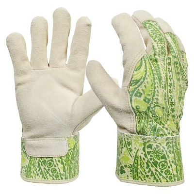 Women's Split Leather Garden Glove with Safety Cuff, Green Paisley - Threshold™