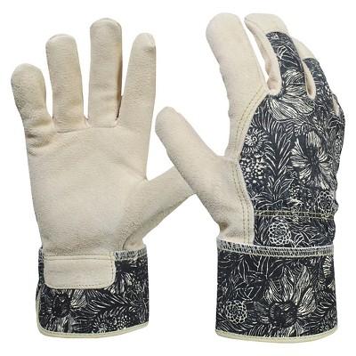 Women's Split Leather Garden Glove with Safety Cuff, Black Woodcut - Threshold™