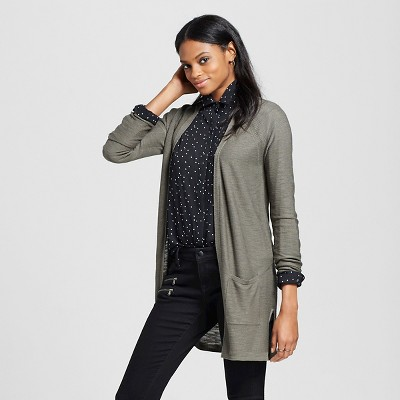 Women's Open Cardigan Sweater Olive Green M - Mossimo™