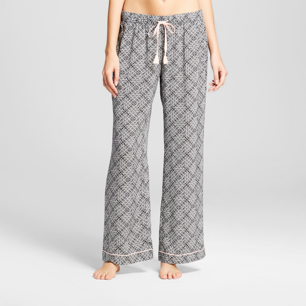 Womens Tencel Wide Leg Pajama Pants Tile Print - Black S
