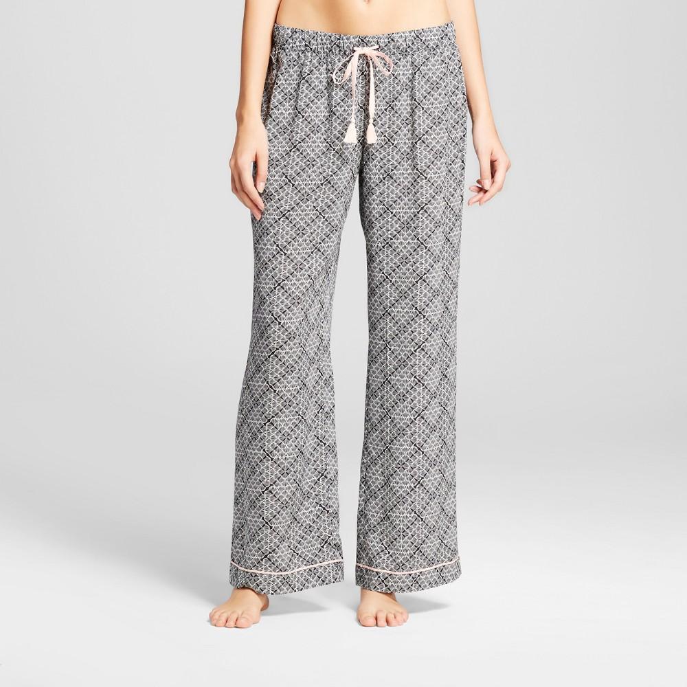 Womens Tencel Wide Leg Pajama Pants Tile Print - Black XL