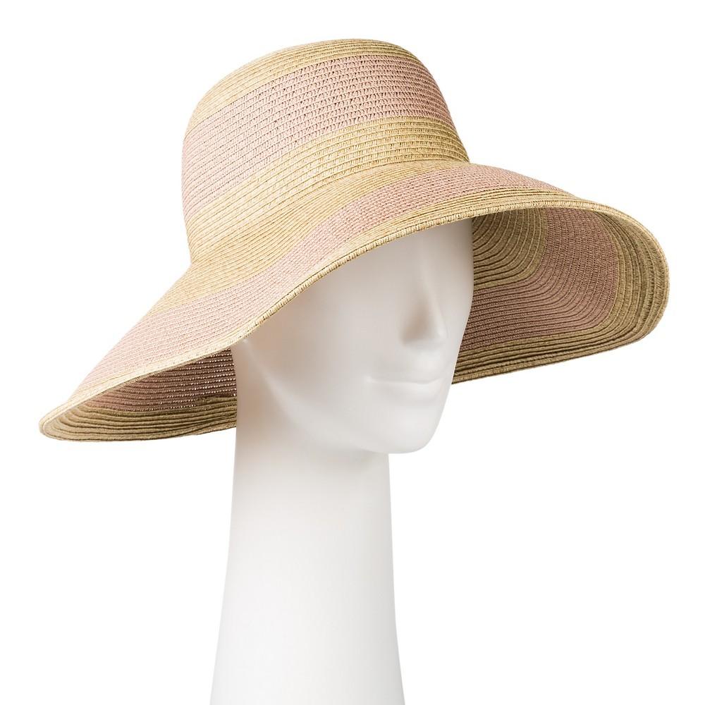 Womens Stripe Oversized Cloche Hat - Merona, Tan/Pink