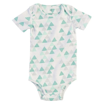 Baby Short Sleeve Geo Triangle Bodysuit White/Turquoise/Gray 6-9M - Aden + Anais®