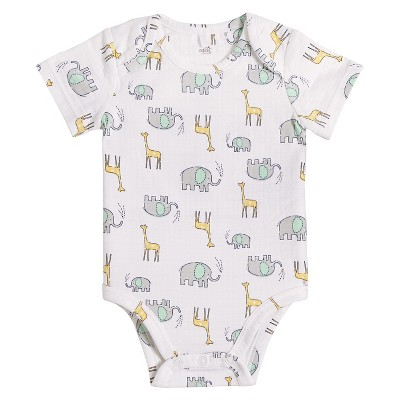 Baby Short Sleeve Animal Pals Bodysuit White/Yellow/Blue 6-9M - Aden + Anais®