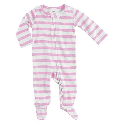 Baby Girls' Long Sleeve Stripe Footed Sleeper Pink 0-3M - Aden + Anais®