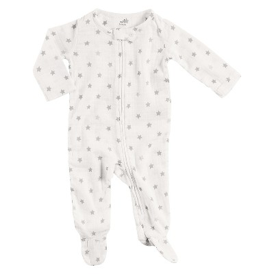Baby Long Sleeve Star Print Footed Sleeper White/Gray 0-3M - Aden + Anais®