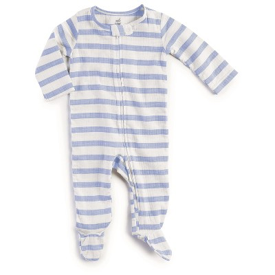 Baby Boys' Long Sleeve Striped Footed Sleeper Blue 3-6M - Aden + Anais®