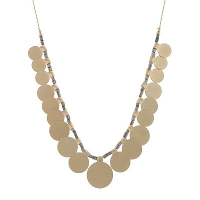 Women's Necklace with Metal Discs and Beads - Gold, Emerald